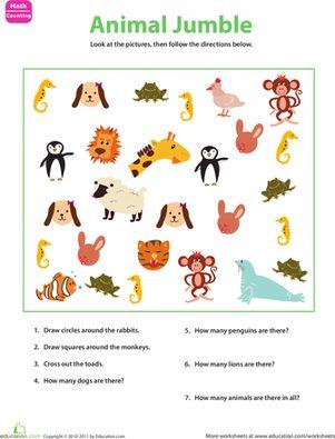 sorting animals worksheets number worksheets and kindergarten. Black Bedroom Furniture Sets. Home Design Ideas