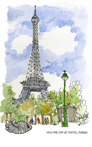 Eiffel tower~: Cats, Sketch Fashion, Good Ideas, Catkitten Images, Art Inspiration, Artists Journals, Watercolor Eiffel, Paris Drawings, Milo Eiffel Towers Jpg