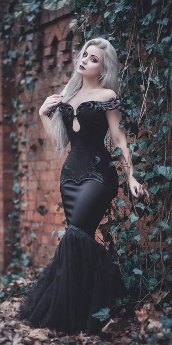 0831b5dc9b97 Dark Romance: 21 Gothic Wedding Dresses ❤ gothic wedding dresses mermaid off  the shoulder black