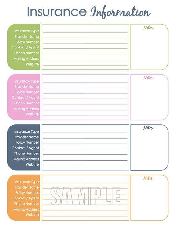 Insurance Information Organizing Printable Fillable Household