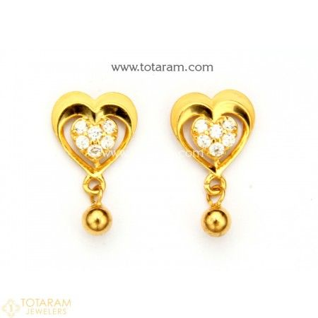 b2db4b7c8629f6 22K Gold Earrings for Women with Cz - 235-GER8780 - Buy this Latest Indian Gold  Jewelry Design in 3.450 Grams for a low price of $231.15