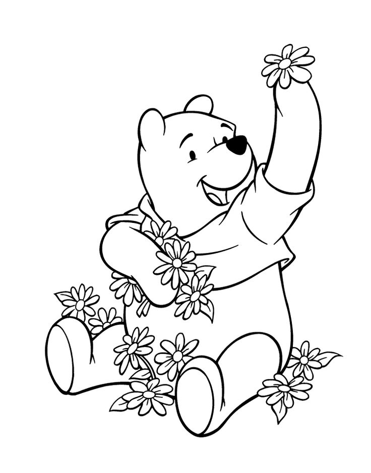 winnie the pooh and the many flowers coloring page - Cartoon Coloring Book