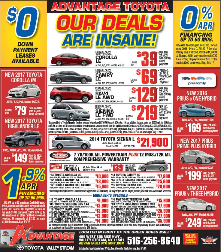 Tested. Trusted. Toyota. These insane purchase and lease specials are only being offered through 05/01/17, so get 'em while you can! Let's Go Places.