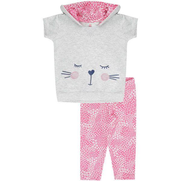 Conjunto de Blusa em moletom Cinza Mescla Calça Legging Rosa ($9.62) ❤ liked on Polyvore featuring pants, leggings, flower print leggings, rayon pants, floral pants, white legging pants and legging pants