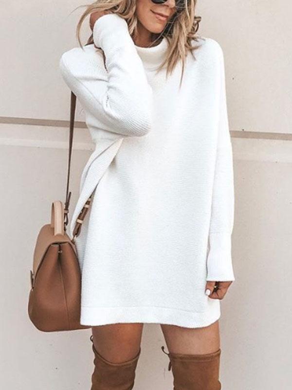 c3e782fcf94 High Neck Plain Long Sleeve Sweater
