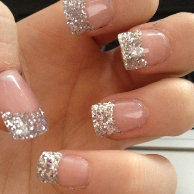 Silver Tip Nails Glitter French