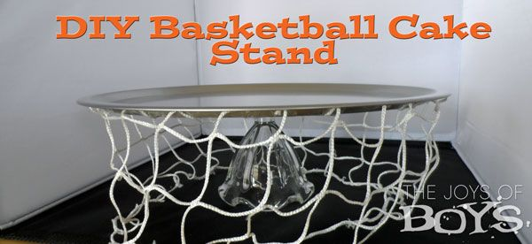 #DIY Basketball Cake Stand - #boysparty idea. The Joys of Boys is a wonderful blog written by a busy Mom of 4 boys. If you have boys this is an enjoyable blog.