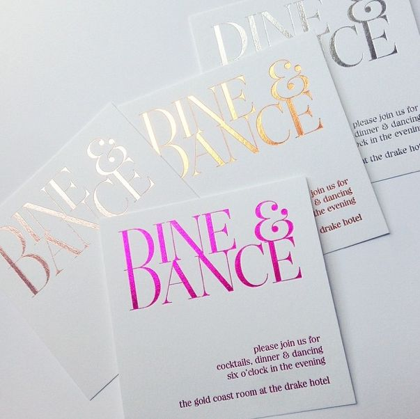 Metallic letterpress wedding invites modern classic look