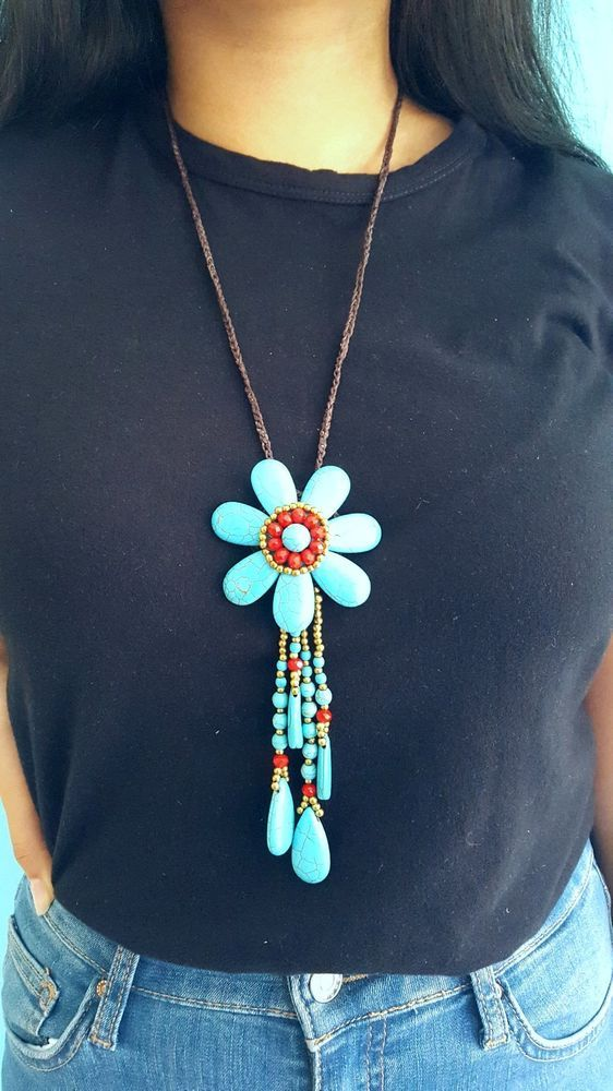 Gorgeous handmade turqouise natural stone & crystal pendant necklace NT101 This flower pendant and dangling tear drop natural turqouise stones ans crystal with wax cord necklace will perfectly complete any outfit. Turquoise flower dimension 7 cm Total length 46 cm. Brand new and hand made | eBay!