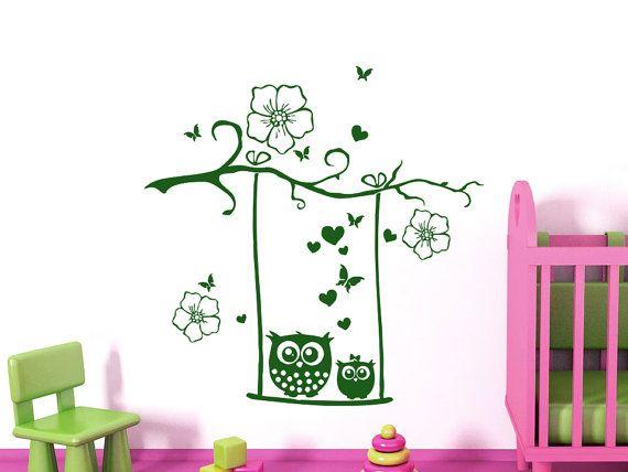 Muro decalcomanie gufo Childrens Decor vinile adesivo fiori farfalle cuori Wall Decal Nursery Baby camera camera da letto sala giochi gufo Decor SV6017 per bambini