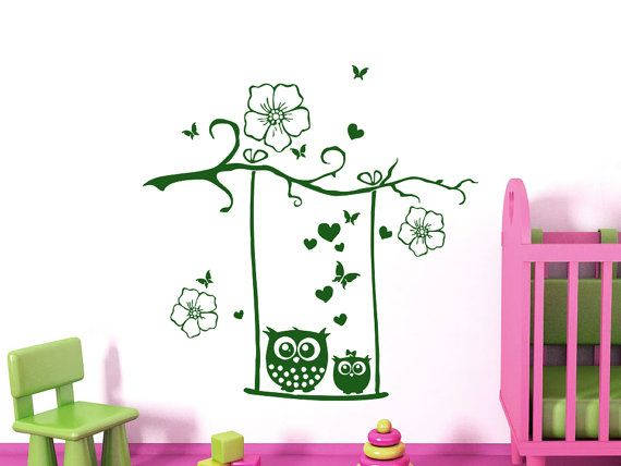 Wall Decals Owl Childrens Decor Kids Vinyl Sticker Flowers Butterflies Hearts Wall Decal Nursery Baby Room Bedroom Playroom Owl Decor