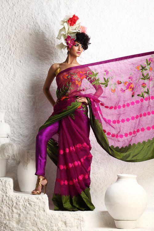 purple green sari saree with pants. Indian South Asian Desi fashion.
