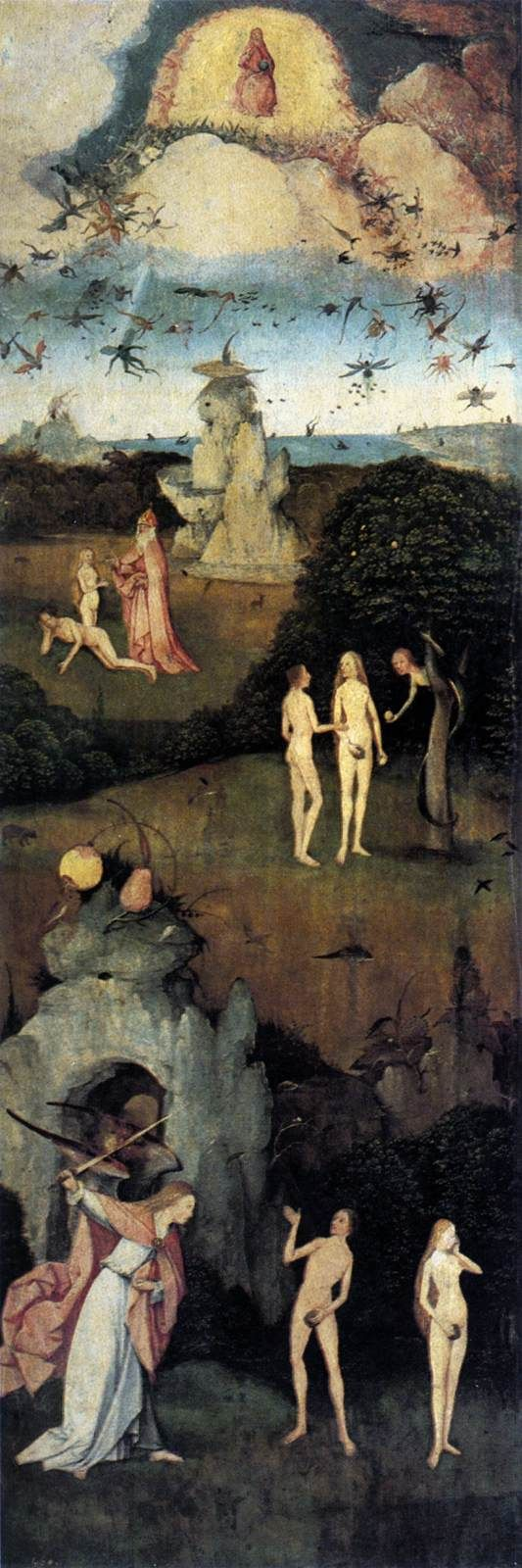 Paradise - Triptych of Haywain (left wing) by Hieronymus Bosch, 1500