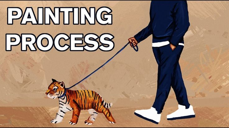 Walking the Tiger - Digital Painting Process #art #painting #drawing #illustration #cool #tiger #process #video #youtube #tomcii #artist #blue #orange #white #dog #animal #cute