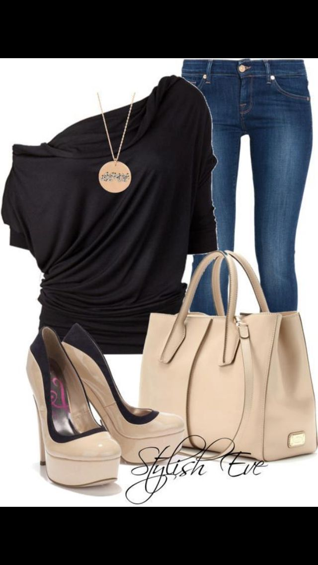 Cute jeans outfit! (Except the necklace wld have to go IMO)
