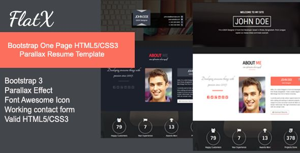 flatx bootstrap onepage parallax resume template wordpress resume template - Wordpress Resume Template