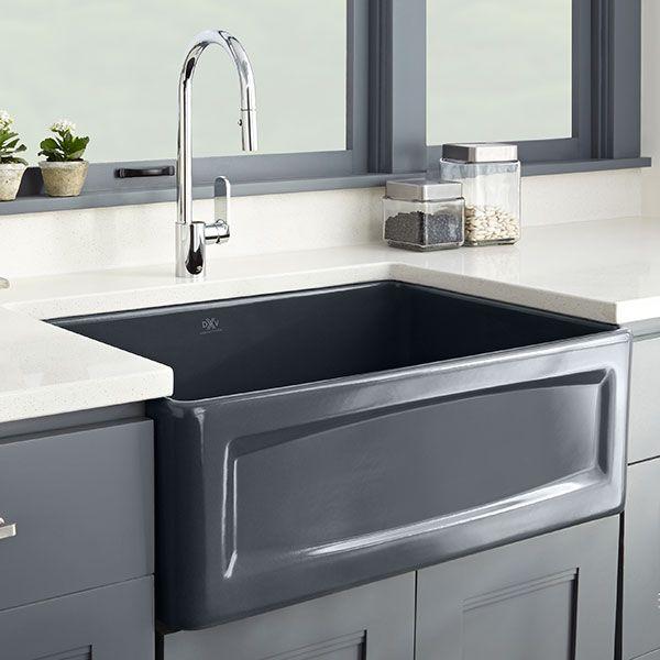 Dxv Hillside 30 Inch Apron Kitchen Sink Room Scene Chenille Gray