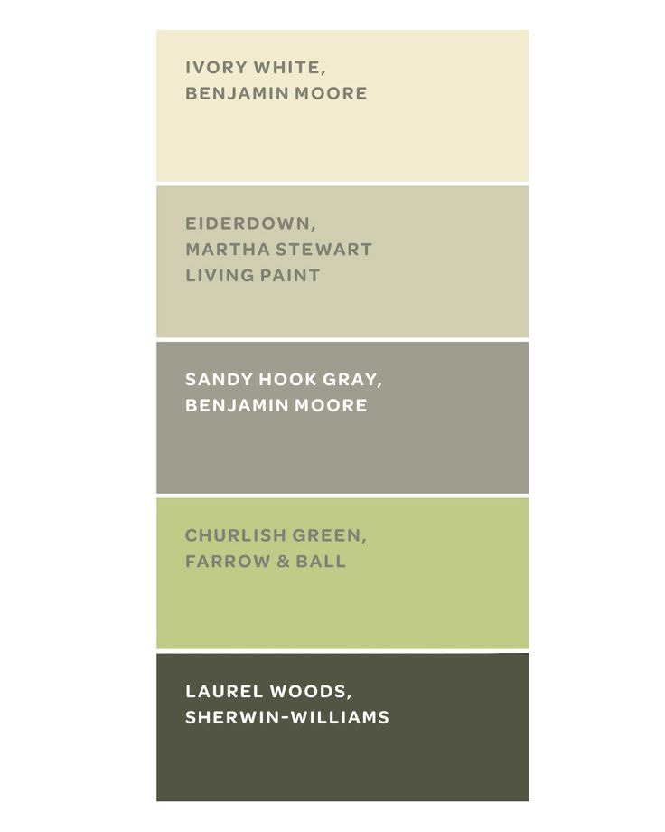 The home's color scheme was inspired by the woods outside. These paints are similar to the ones the owner used. Ivory White is a fail-safe trim color. Eiderdown, in the guesthouse common room, reflects the surrounding trees. Sandy Hook Gray, on the porch wall, bridges the interior and exterior. Churlish Green gives the living room a spring feel. Laurel Woods, on the porch furniture, is a softer alternative to black.