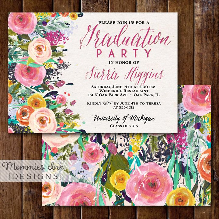 Graduation Party Invitation, Watercolor Flowers Invitation, Floral Invitation, Floral Invite, Class of 2015, Open House Invitation by MommiesInk on Etsy https://www.etsy.com/listing/227299676/graduation-party-invitation-watercolor