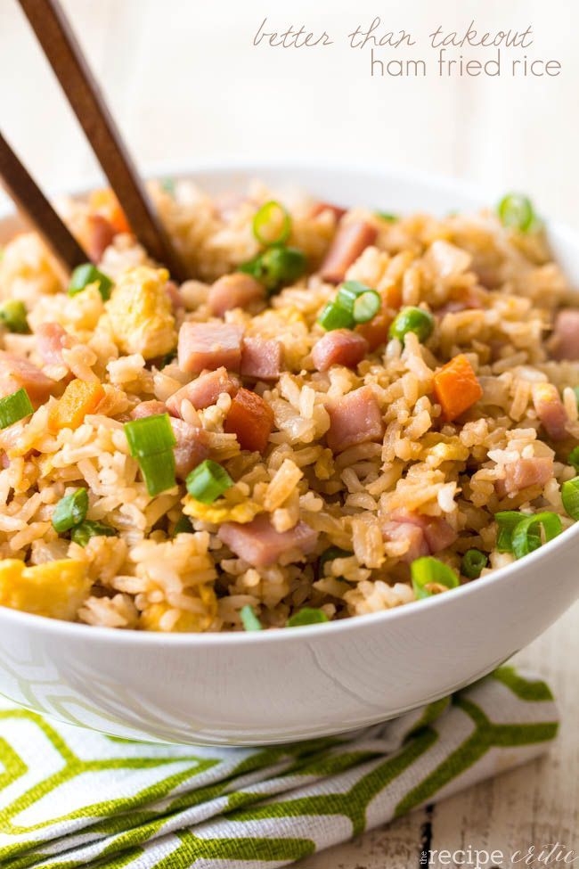 ham fried rice (Heat 2Tbsp sesame oil in lg skillet; cook 1small chopped onion, 1.5-2c chopped cooked ham, 1c frozen peas (and carrots) -thawed; cook til tender.  Put mixture to one side of pan, on other side cook 3 beaten eggs til scrambled; mix all together. Add 3c cooked rice, 2-3Tbsp soy sauce; cook til heated thru. Garnish with green onion.)