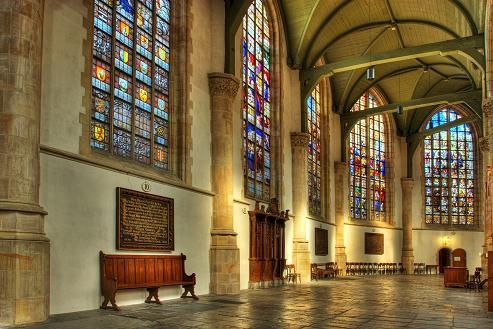Beautiful Church St. Jan in the City of Gouda (the Netherlands)