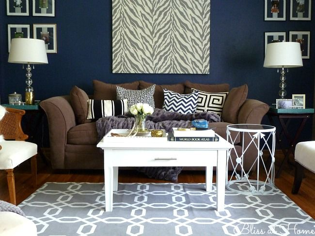 1000 images about living room decor brown blue and for Living room navy walls