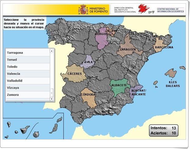 """""""Puzzle de provincias de España"""" (Instituto Geográfico Nacional de España)"""