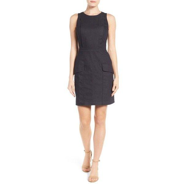 Women's Halogen Flap Pocket Denim Dress (5,965 PHP) ❤ liked on Polyvore featuring dresses, denim, petite, denim dress, wet look dress, fitted denim dress, petite denim dress and fitted dresses