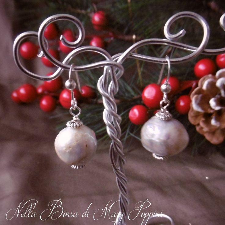 baroque pearl earrings  white earrings  romantic  silver earrings  stone month in June  wedding earrings  earrings anniversary (22.00 EUR) by NellaBorsadiMaryPopp