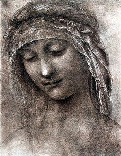 Leonardo Da Vinci | Leonardo Da Vinci Hl Anna Kopfstudie Wandbild auf Leinwand kaufen ...