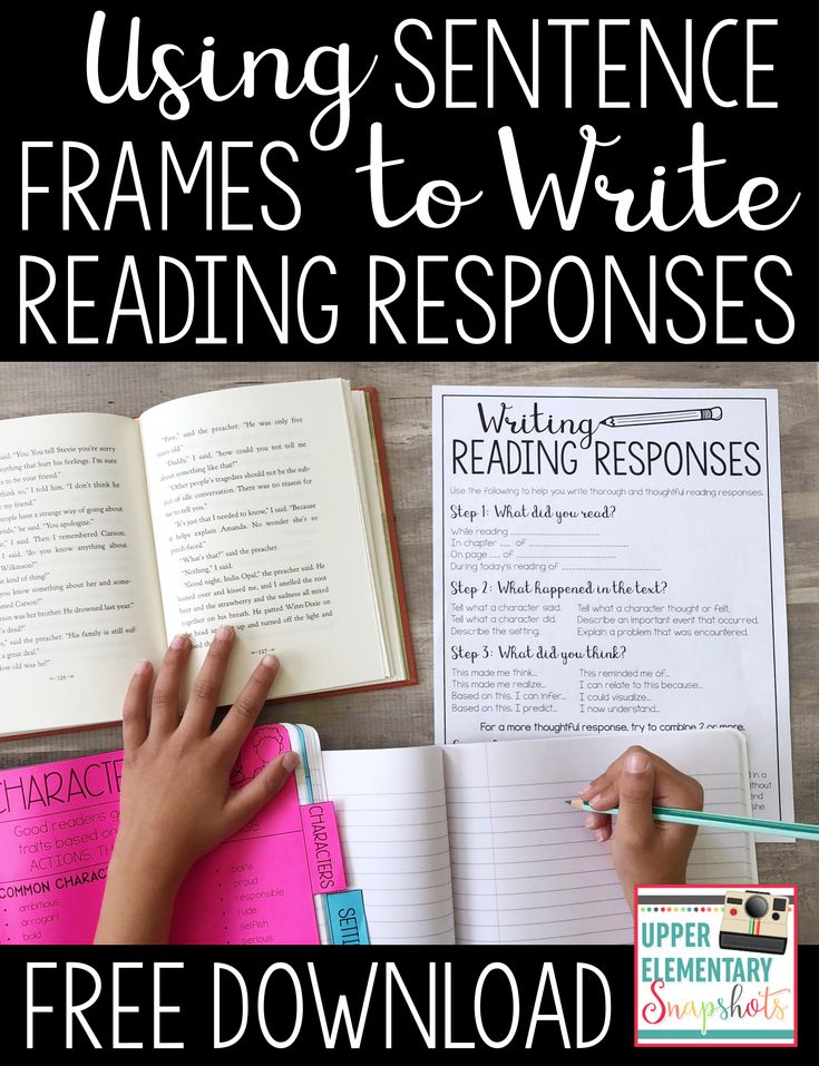 Sentence frames are a great way to help students write thorough and meaningful reading responses. Learn more about how I this step by step process to teach student to write reading responses. Perfect for upper grade students and classrooms.