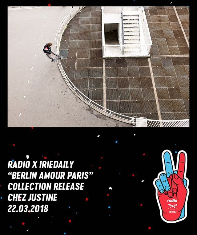 See you all at @chez_justine this Thursday  15-18h presentation of the collection on 2nd floor - 21 - 0h let's have some drinks together  / #berlinamourparis #radioskateboards #paris #iriedaily #berlin