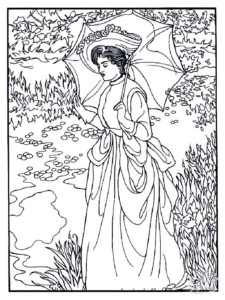 free coloring page coloring adult manet woman of the century with beautiful umbrella a work of edouard manet to print and color