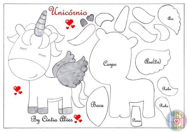 Molde Capa De Caderno Em Eva Unicornio Para Imprimir Gratis