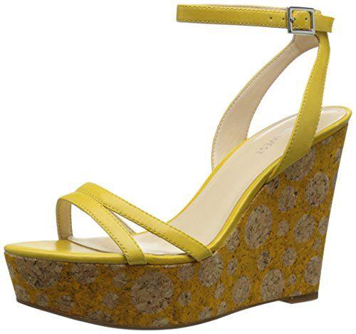 Nine West Women's Anadulo Leather Dress Sandal, Yellow, ...