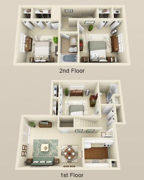 3 Bed 2 Bath Townhome 1550sf Home Style House Plans In 2019