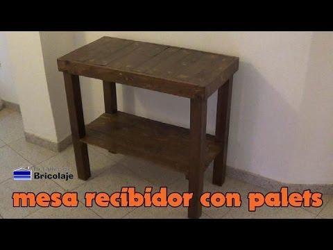 C mo hacer una mesa para el recibidor con palets casa - Como hacer una mesa con palets ...
