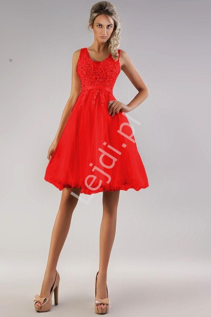 Red tulle dress. Prom dress.Czerwona sukienka  z gipiurowa koronka w kwiaty | czerwone sukienki. www.lejdi.pl