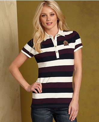Tommy Hilfiger Top, Maya Short-Sleeve Striped Polo - Womens Tommy Hilfiger Apparel - Macy's