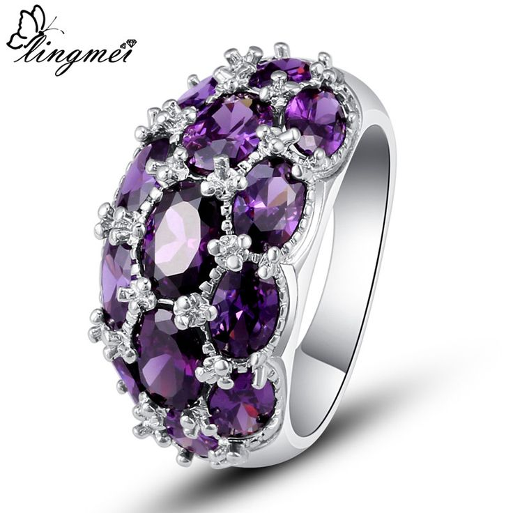 lingmei Wholesale Fashion Jewelry Amethyst  Silver Ring Size 7 8 9 10 For Noble Women Wedding Nice Gift Rings Free Shipping
