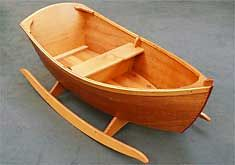 "Jolly Boat Rocker - Jordan Wood Boats - Wooden boat plans and kits This BEAUTIFUL little rocker is apparently a ""simple"" project. I would modify it to be able to take out the middle seat so it could be a cradle when baby was small and then a toy later. I definitely want to tackle this once I have more experience under my belt, or work on it over a couple of weekends with my dad."
