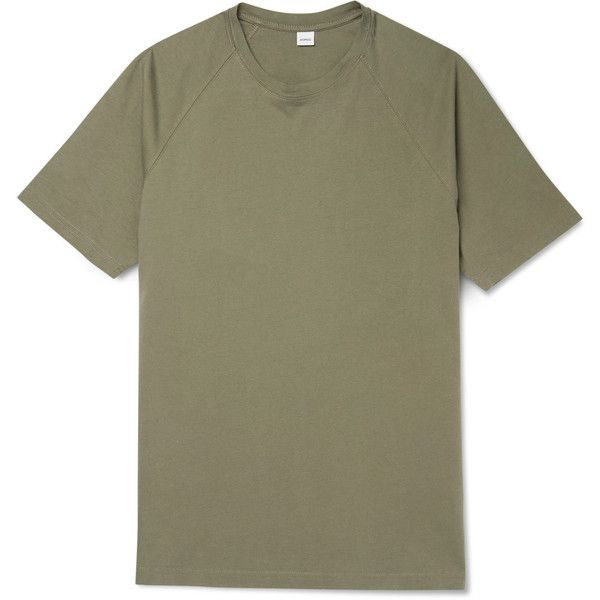 Aspesi Cotton-Jersey T-Shirt ($49) ❤ liked on Polyvore featuring men's fashion, men's clothing, men's shirts, men's t-shirts, mens raglan t shirt, mens olive green shirt, mens raglan shirts and mens tailored shirts