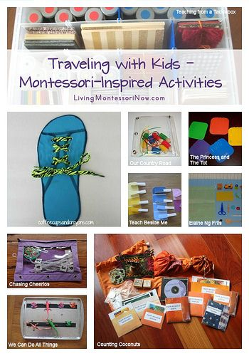 Traveling with Kids – Montessori-Inspired Activities. Links to lots of great ideas for busy bags!!