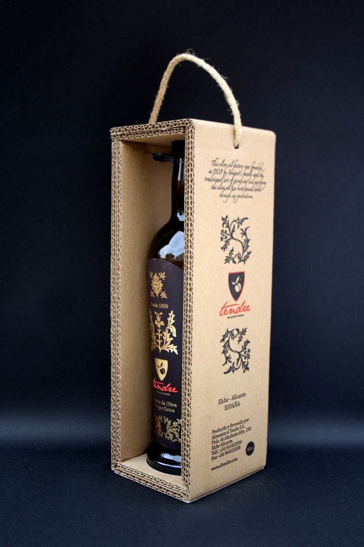 Оригинальные коробки дляподарочной упаковки оливкового масла El Tendre. Подарочная упаковка дляоливкового масла El Tendre  Испанская компания El Tendre производит оливковое масло уже более 175 лет. Эта упаковка является подарочное издание дляпремиальной марки the Extra Virgin Olive Oil.  Коробка сделана изпятислойного гофрокартона иимеет конструктивную форму обечайки, вкоторой зафиксирована бутылка оливкового масла. Стеки укоробки двойные. Вкрышке коробки проделано отверстие…