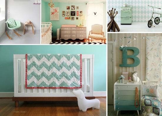 Adorable baby nursery room with mint modern and vintage touches, love the chevron blanket / throw over a classic white crib