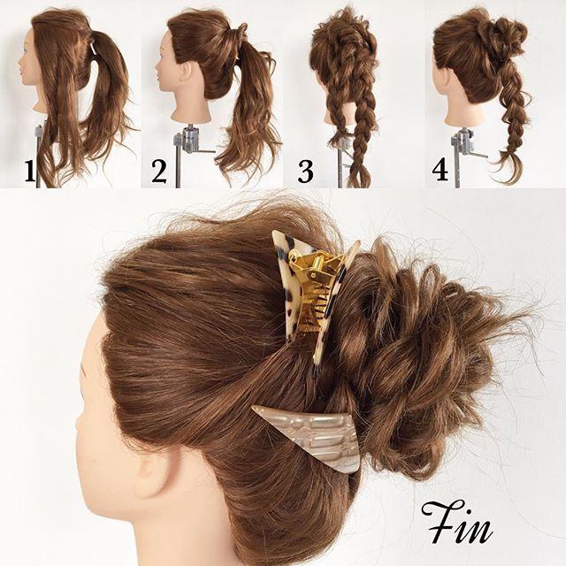 今日はちょっとオシャレなお団子ヘアーのやり方です 【アレンジスタイル作り方】 ①サイドの髪は残して後ろの髪を上下半分に分けてそれぞれ結びます。 ②両サイドに残しておいた髪をねじって①で結んだ上の方のゴムに穴結びつけます。 ③①で2つに分けて結んだ髪の毛をそれぞれ三つ編みします。 マルヨン三つ編みした髪を毛束を引き出して崩し、根元にグルンと回してピンで固定します。 ※まるくお団子を作るように形を整えながら作ります。 Fin→全体のバランスを見て、毛束を引き出したりして形を整えて完成です ヘアアクセは @san_official の三角クリップを  #簡単アレンジ#セルフアレンジ#波ウェーブ#クルリンパ#お洒落#アレンジ#お団子ヘアー#ポニーテール#三つ編み#ヘアアレンジ#ヘアセット#髪型#ヘアスタイル#ヘアアクセ#三角バレッタ#シェリヘアデザイン#福岡#ママ美容師#beautiful#cute#love#girl#hairarrange#hair#hairset#Fashion#CHERIEhairdesign#salon#hairstyle