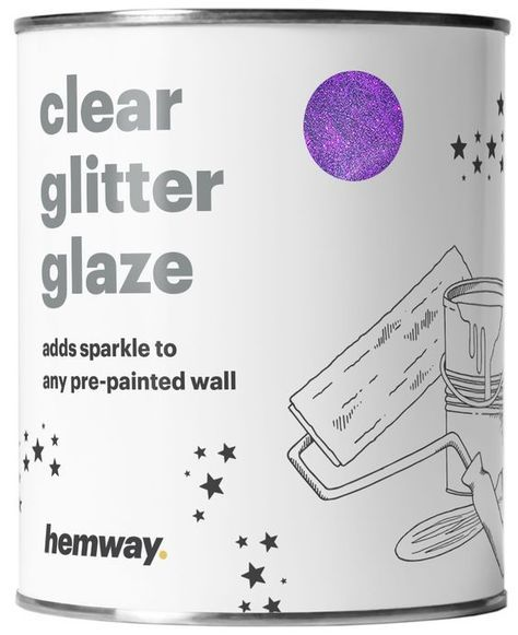 Hemway 1L Clear Glitter Paint Glaze for Pre-Painted Walls (Purple Glitter) - Acrylic, Latex, Emulsion, Ceiling, Wood, Varnish, Dead flat, Matte, Soft Sheen or Silk (CHOICE OF 25 GLITTER COLOURS)
