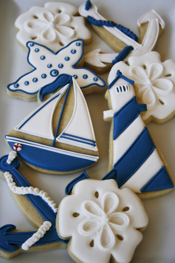 Nautical Themed Cookies Check out our new Anchor Cookie Cutter! http://www.annclarkcookiecutters.com/product/anchor-gift/new-cookie-cutters