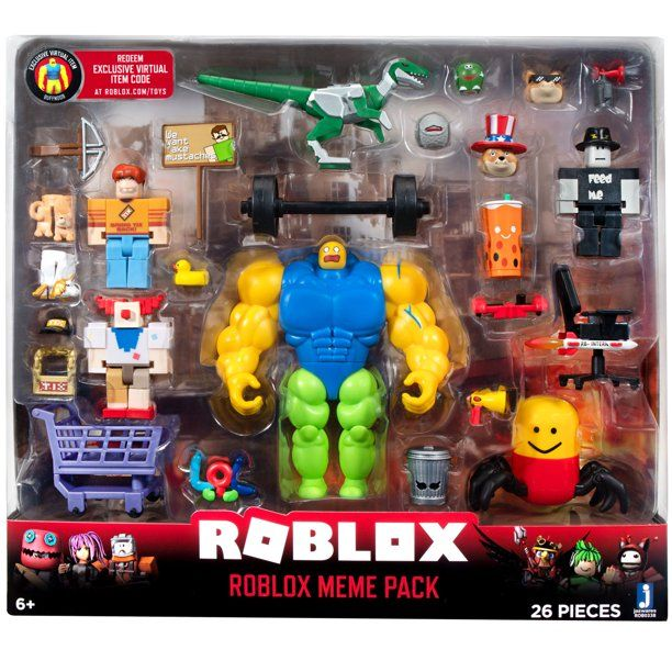 Roblox Action Collection Meme Pack Playset Includes Exclusive Virtual Item Walmart Com Playset Roblox Memes