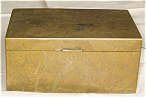 Vintage Chinese heavy brass box with wood lining, (humidor?), for sale at More Than McCoy on TIAS